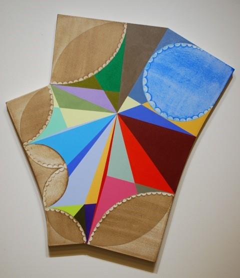 "P-527, 2014, 50"" x 44"", acrylic, paper, canvas"